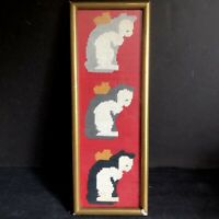 "Cats Angel Hearts Needlepoint Framed Glass 16""x 5.75"" Wall Art Vtg Gold Wood Red"