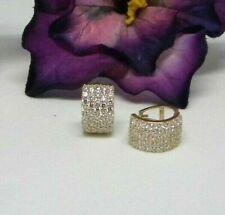 14K Yellow Gold Thick 0.40 Diamond Hoop Huggies Earrings 3 grams 8MM