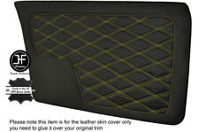 YELLOW DIAMOND STITCH 2X FRONT DOOR CARD LEATHER COVERS FITS BMW E30 SALOON