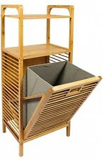 Woodluv Bamboo Large Laundry Linen Storage Hamper Basket With 2 Shelve