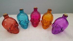 LG Glass Skull Apothecary Jar Bottle Decanter Skeleton Poison Potion Halloween