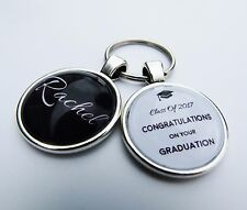 Personalised Glass Dome Graduation Keyring Gift Idea 2017 (Name Insert)