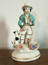 Antique 19th c. Staffordshire Pearlware Figure of a Shepherd Dog & Lamb Sheep