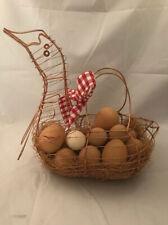 Vintage Farmhouse Wire Metal Rooster Basket Chicken Egg Hen Bird w/ 14 Fake Eggs