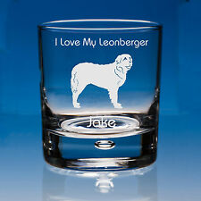 More details for leonberger dog lover gift personalised hand engraved whisky glass  birthday gift