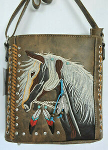 Brown Embroidered  Pony Horse Concealed Gun Carry Messenger Bag Grey Trim