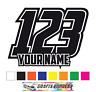 3 SETS Custom Race Numbers And Name Stickers Motocross Kart Decals MX Dirt Bike