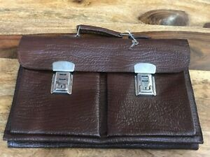 VINTAGE BROWN LEATHER DOCUMENT BUSINESS BRIEFCASE WITH KEY IDEAL FOR LAPTOP