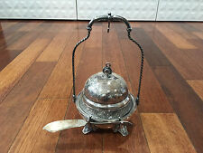 Antique James W Tufts Boston Silver Plated Covered Butter Dish Floral Decoration