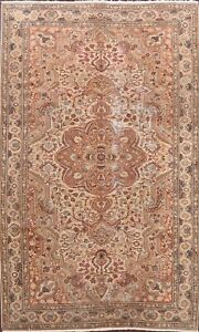 Floral Semi Antique Anatolian Turkish Oriental Area Rug Wool Hand-knotted 7x9 ft