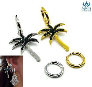 Orecchini asimmetrici da donna cerchio palma cerchietti acciaio inox mini hoop