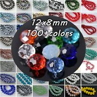 20pcs 12mm(12x8mm) Rondelle Faceted Crystal Glass Loose Beads for Jewelry Making