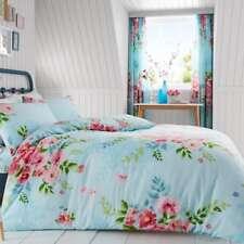 Alice floral Parure housse de couette king size roses fleurs literie - Turquoise