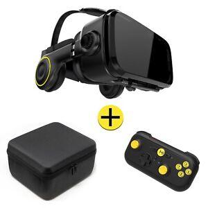 VR Brille Geschenkset mit Headset, Bluetooth Gamepad & Etui für Android Handy