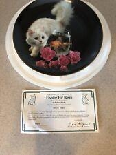 Fishing For Roses Plate Coming Up Roses Richard Stacks White Cat Kitten Pink