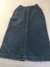 Cherokee Vintage Ladies' Button Front Jean Skirt Size 12 Hong Kong 100% Cotton