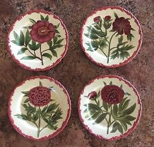 Decorative Plates Flower Pattern Raised Beaded rimmed ~ set of 4 ~ 10 1/2""