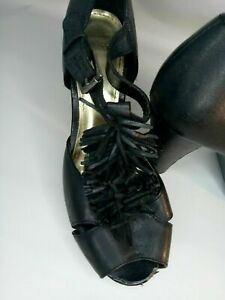 Zu Black Tassle Platform Shoes Size 6 1/2