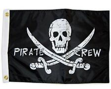 """Pirate Crew 12""""x18"""" Two Sided Flag Outdoor Grade 200denier Fabric Usa Home Boat"""