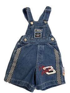 VIntage Nascar Dale Earnhardt 90's Kids Denim Bibs Overalls Shorts Chase 24 mos