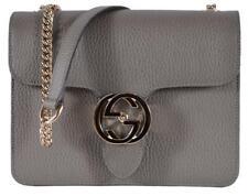 Gucci Women Handbag 510304 Crossbody Interlock Grey Leather Shoulder Bag Purse