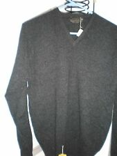 NEW MEN CASHMERE BLACK  pure cashmere V NECK  MAN sweater size 42 Made in Japan