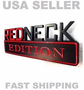 REDNECK EDITION emblem car INTERNATIONAL PICKUP HARVESTER TRUCK logo BLACK badge