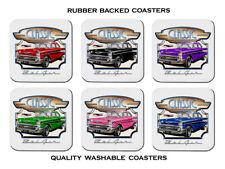 1957 Chevy Bel Air Chevrolet Sedan Set of 6 Rubber Drink Coasters