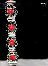 "Silver Plated Bracelet Length 8""-Jas10 Red Agate Gemstone .925 Sterling"
