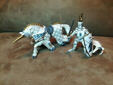 Papo Knights With Horses Swords Medieval Fantasy Figure 2007 White Grey