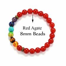 7 Chakra Healing Balance Beaded Bracelet Natural Red Agate Bracelet Yoga Jewelry