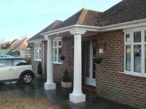 1 x GRP Door Decorative Fluted Columns Pillars White Fibreglass