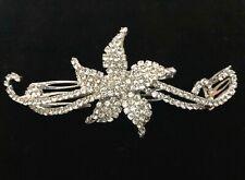 Crystal Lily Rhinestone Hair Comb - Prom Bridal Formal Hair Clip Headpiece
