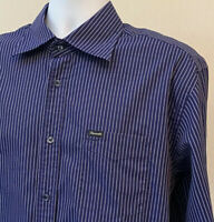 Faconnable Mens Blue White Striped Long Sleeve Button Down Up Dress Shirt Large