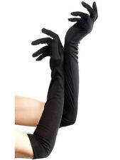 Ladies Black Burlesque Long Opera Satin Gloves Charlestone Party Prom Accessory