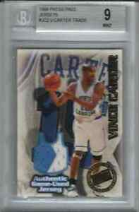 1998 Press Pass #JC2 Vince Carter RC Rookie Jersey 2 COLOR BGS 9 MINT #95/375