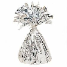 6 X AMSCAN SILVER FOIL BALLOON WEIGHTS 175g FOIL HELIUM NEW BIRTHDAY PARTY