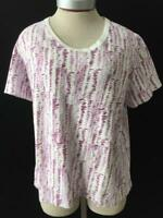 Kim Rogers Woman knit top size 1X short sleeve purple white cotton