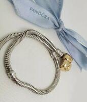 Authentic Pandora Sterling Silver Charm Bracelet with 14k Gold Clasp 2 Tone 21cm