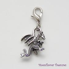 Tibetan Silver Winged Dragon Charm fit Clip on Charm Bracelet