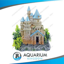 #18703 Kazoo Blue Roof Castle W/ Plants Small Aquarium Fish Ornament Decoration
