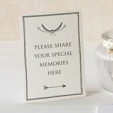 'Share Your Memories Here' A5 Ivory Card Sign - For Funeral Condolence Book