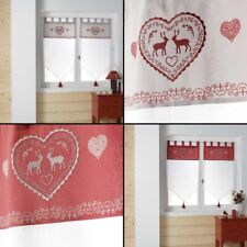 Edelweiss Heart Voile Blind Pair with Tab Top & Tassels - White Red Natural