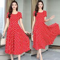 Fashion Womens O-Neck Short sleeve Long Dress Polka Dot Slim A-Line Dresses AU