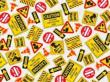 DIG IT  ROAD WORK SIGNS CONSTRUCTION BOY 100% QUILT COTTON FABRIC  BOY  YARDAGE