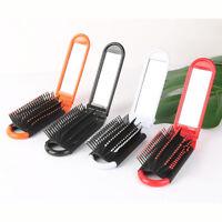 Faltende Haarbürste mit Spiegel Kompakte Taschengröße Reisekamm Kosmetikspiegel-