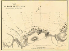 "Malfalcu. ""Plan du port de malfalco"". CORSE CORSICA. Gauttier 1851 OLD MAP"