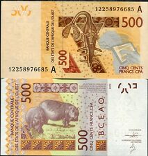 "WEST AFRICAN STATES IVORY COAST 500 FRANCS 2012 (2012) P NEW ""A"" HIPPO UNC"