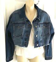 Wild Fable Womens Jean Jacket Size Medium Blue Denim Cropped Frayed Hem New