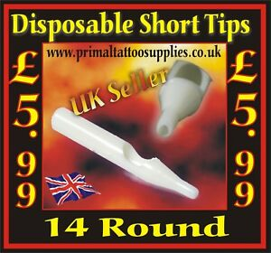 Disposable Short Tips 14 Round - Box of 50  - (Tattoo Needles - Tattoo Supplies)